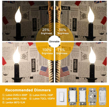 Load image into Gallery viewer, CRLight 6W 650LM Dimmable LED Filament Retro Candelabra Bulbs 3200K Soft White, E12 Base, 65W Incandescent Equivalent, Frosted Glass Flame Tip, 8 Pack