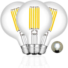 Load image into Gallery viewer, CRLight 8W 4000K Dimmable LED Globe Bulb Daylight White 800LM, 80W Incandescent Equivalent E26 Base G80 Vintage Filament Bulbs, 3 Pack