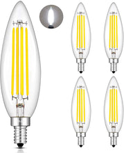 Load image into Gallery viewer, CRLight 8W 800LM Dimmable LED Filament Retro Candelabra Bulbs 4000K Daylight (Neutral White), E12 Base, 80W Incandescent Equivalent, Clear Glass Bullet Top, 4 Pack
