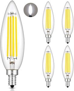 CRLight 8W 800LM Dimmable LED Filament Retro Candelabra Bulbs 4000K Daylight (Neutral White), E12 Base, 80W Incandescent Equivalent, Clear Glass Bullet Top, 4 Pack