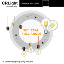 Load image into Gallery viewer, CRLight 10W 5000K LED Globe Bulb Daylight White 1000LM, 100W Incandescent Equivalent E26 Base G80 Vintage Filament Bulbs, 3 Pack