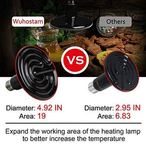 250W Ceramic Heat Lamp, Upgraded Enlarged Infrared Heating Emitter Brooder Lamp Bulb for Pet Coop Heater Reptile Chicken Lizard Turtle Snake Chameleon Aquarium, Black Round Shape