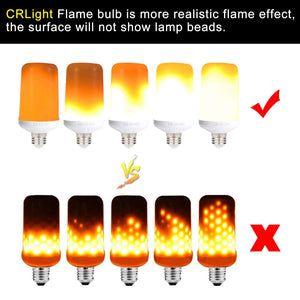 LED Simulated Fire Flicker Flame Effect Light Bulb, E26 7W with Gravity Sensor and 4 Modes Emulation/Gravity Sensing/General/ Breathing - 2 Pack