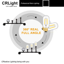 Load image into Gallery viewer, CRLight 2W 2700K Dimmable LED Tubular Bulb Warm White 250LM, 25W Incandescent Equivalent E26 Base T45 Antique Filament Bulbs, 6 Pack