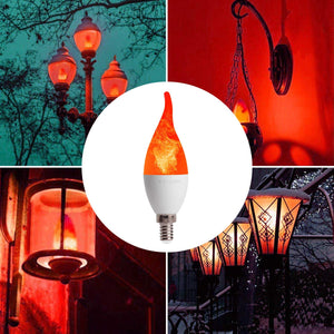 CRLight 2W 150LM LED Fire Flicker Flame Candelabra Bulbs 1800K Warm White, E12 Base, 3 Modes (Emulation General Breathing) for Home Bar Hotel Party Decoration, 4 Pack