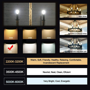 CRLight 2W 250LM Dimmable LED Filament Retro Candelabra Bulbs 4000K Neutral White, E12 Base, 25W Incandescent Equivalent, Frosted Glass Globe Shape, 8 Pack