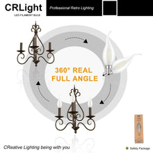 Load image into Gallery viewer, CRLight 2W 250LM Dimmable LED Filament Retro Candelabra Bulbs 4000K Neutral White, E12 Base, 25W Incandescent Equivalent, Frosted Glass Flame Shape, 6 Pack