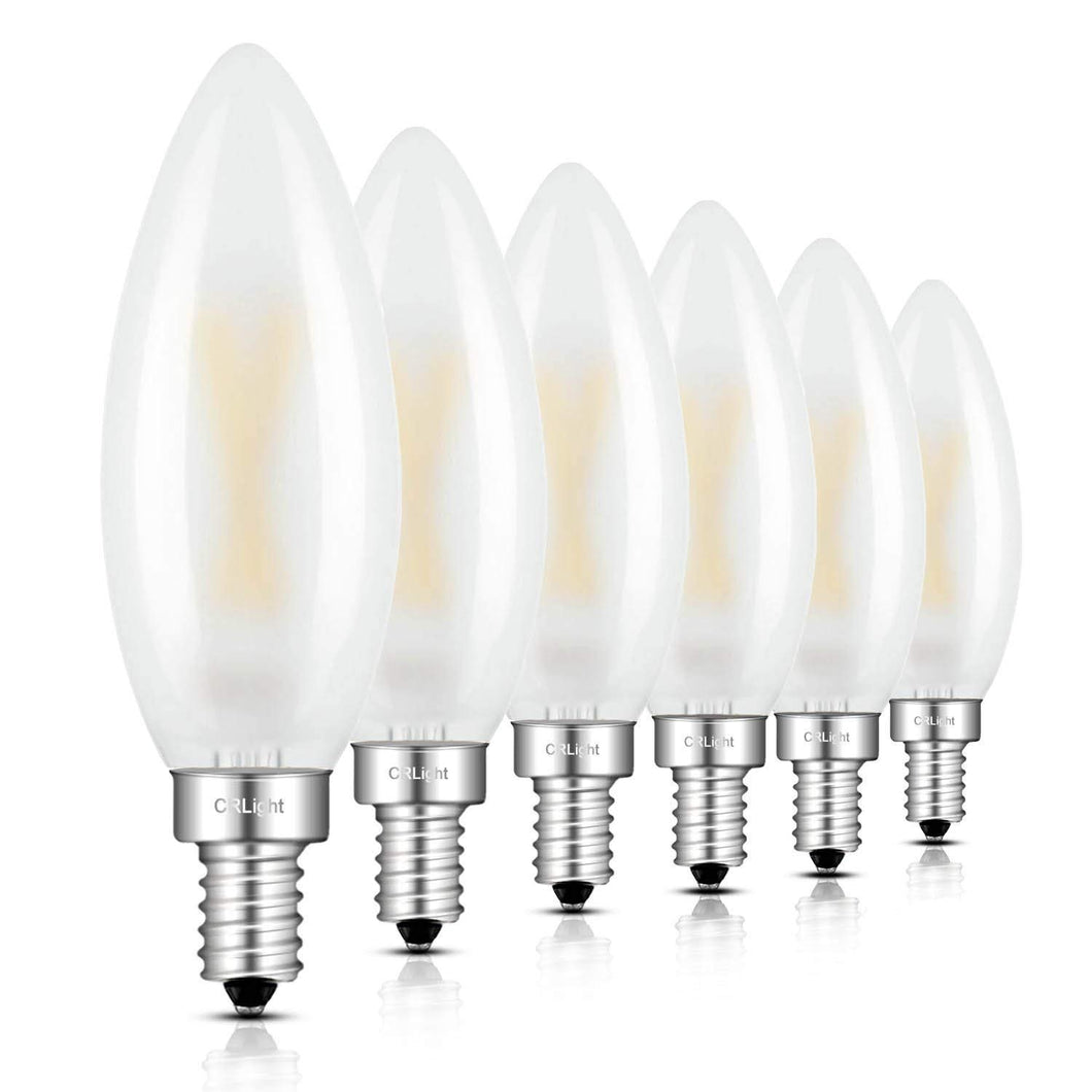 CRLight 2W 250LM Dimmable LED Filament Retro Candelabra Bulbs 3000K Soft White, E12 Base, 25W Incandescent Equivalent, Frosted Glass Bullet Top, 6 Pack