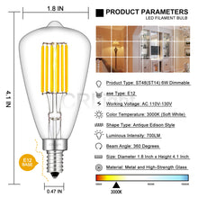 Load image into Gallery viewer, CRLight 6W 700LM Dimmable LED Filament Retro Candelabra Bulbs 3000K Soft White, E12 Base, 70W Incandescent Equivalent, ST48 Edison Style, 4 Pack