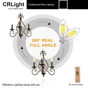 CRLight 6W 700LM Dimmable LED Filament Retro Candelabra Bulbs 6000K Daylight (Cold White), E12 Base, 70W Incandescent Equivalent, Clear Glass Bullet Top, 3 Pack