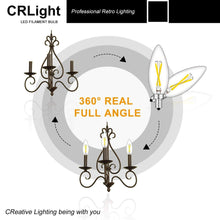 Load image into Gallery viewer, CRLight 2W 300LM Dimmable LED Filament Retro Candelabra Bulbs 4000K Neutral White, E12 Base, 30W Incandescent Equivalent, Clear Glass Bullet Top, 6 Pack