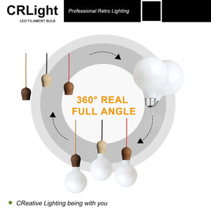 CRLight 8W 2700K Dimmable LED Retro Bulb Warm White 650LM, 65W Incandescent Equivalent E26 Base G80 Globe Filament Bulb, 3 Pack
