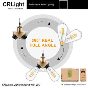 CRLight 6W 2700K Dimmable LED Edison Bulb Warm White 700LM, 60W Incandescent Equivalent E26 Base ST64 Vintage Filament Bulbs, 6 Pack