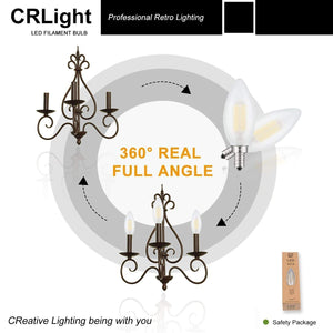 CRLight 6W 600LM Dimmable LED Filament Retro Candelabra Bulbs 4000K Neutral White, E12 Base, 60W Incandescent Equivalent, Frosted Glass Bullet Top, 6 Pack