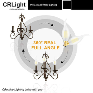 CRLight 6W 600LM Dimmable LED Filament Retro Candelabra Bulbs 5000K Daylight  White, E12 Base, 60W Incandescent Equivalent, Frosted Glass Flame Shape, 6 Pack