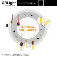 Load image into Gallery viewer, CRLight 6W 700LM Dimmable LED Filament Retro Candelabra Bulbs 4000K Neutral White, E12 Base, 70W Incandescent Equivalent, G50 Clear Glass Globe Shape, 6 Pack