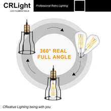 Load image into Gallery viewer, CRLight 12W 5000K Dimmable LED Edison Bulb Daylight White 1200LM, 120W Incandescent Equivalent E26 Base ST64 Vintage Filament Bulbs, 3 Pack