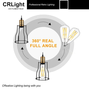 CRLight 12W 5000K Dimmable LED Edison Bulb Daylight White 1200LM, 120W Incandescent Equivalent E26 Base ST64 Vintage Filament Bulbs, 3 Pack