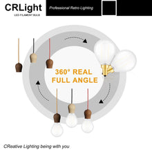 Load image into Gallery viewer, CRLight 2W 250LM Dimmable LED Filament Retro Candelabra Bulbs 4000K Neutral White, E12 Base, 25W Incandescent Equivalent, Frosted Glass Globe Shape, 8 Pack