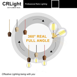 CRLight 4W 500LM Dimmable LED Filament Retro Candelabra Bulbs 5000K Daylight White, E12 Base, 50W Incandescent Equivalent, Clear Glass Globe Shape, 6 Pack