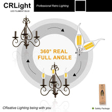 Load image into Gallery viewer, CRLight 6W 700LM Dimmable LED Filament Retro Candelabra Bulbs 2700K Warm White, E12 Base, 60W Incandescent Equivalent, Clear Glass Flame Shape, 6 Pack