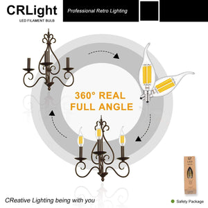 CRLight 6W 700LM Dimmable LED Filament Retro Candelabra Bulbs 2700K Warm White, E12 Base, 60W Incandescent Equivalent, Clear Glass Flame Shape, 6 Pack