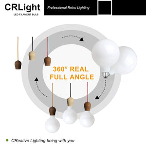 CRLight 12W 2700K Dimmable LED Retro Bulb Warm White 1000LM, 100W Incandescent Equivalent E26 Base G125 Globe Filament Bulbs