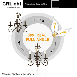 CRLight 2W 200LM Dimmable LED Filament Retro Candelabra Bulbs 2500K Warm White, E12 Base, 20W Incandescent Equivalent, Clear Glass Flame Shape, 6 Pack