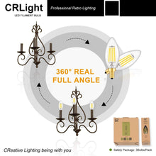 Load image into Gallery viewer, CRLight 4W 500LM Dimmable LED Filament Retro Candelabra Bulbs 5000K Daylight  White, E12 Base, 50W Incandescent Equivalent, Clear Glass Bullet Top, 6 Pack