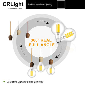 CRLight 8W 4000K Dimmable LED Globe Bulb Daylight White 800LM, 80W Incandescent Equivalent E26 Base G80 Vintage Filament Bulbs, 3 Pack