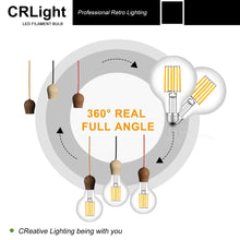 Load image into Gallery viewer, CRLight 8W 2700K Dimmable LED Globe Bulb Warm White 800LM, 80W Incandescent Equivalent E26 Base G95 Vintage Filament Bulbs, 2 Pack