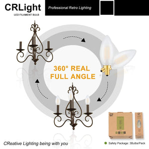 CRLight 6W 600LM Dimmable LED Filament Retro Candelabra Bulbs 3200K Soft White, E12 Base, 60W Incandescent Equivalent, Frosted Glass Bullet Top, 3 Pack