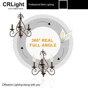 CRLight 2W 250LM Dimmable LED Filament Retro Candelabra Bulbs 2500K Warm White, E12 Base, 25W Incandescent Equivalent, Clear Glass Flame Shape, 8 Pack