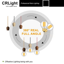 Load image into Gallery viewer, CRLight 6W 700LM Dimmable LED Filament Retro Candelabra Bulbs 2700K Warm White, E26 Base, 60W Incandescent Equivalent, G50 Clear Glass Globe Shape, 6 Pack