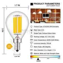 Load image into Gallery viewer, CRLight 6W 700LM Dimmable LED Filament Retro Candelabra Bulbs 3200K Soft White, E12 Base, 70W Incandescent Equivalent, Clear Glass Globe Shape, 6 Pack