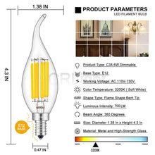 Load image into Gallery viewer, CRLight 6W 700LM Dimmable LED Filament Retro Candelabra Bulbs 3200K Soft White, E12 Base, 70W Incandescent Equivalent, Clear Glass Flame Shape, 6 Pack