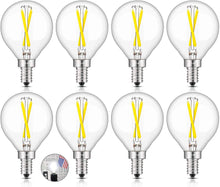 Load image into Gallery viewer, CRLight 2W 300LM Dimmable LED Filament Candelabra Bulbs 5000K Daylight White, E12 Base, 30W Incandescent Equivalent, G50 Clear Glass Globe Shape, 8 Pack