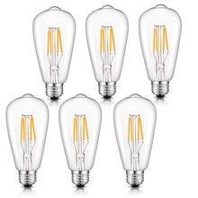 Load image into Gallery viewer, CRLight 4W 2700K Dimmable LED Edison Bulb Warm White 400LM, 40W Incandescent Equivalent E26 Base ST64 Vintage Filament Bulbs, 6 Pack