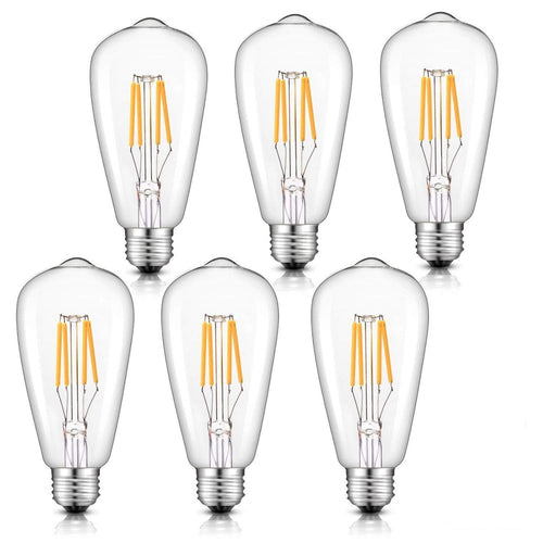 CRLight 4W 2700K Dimmable LED Edison Bulb Warm White 400LM, 40W Incandescent Equivalent E26 Base ST64 Vintage Filament Bulbs, 6 Pack