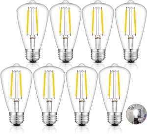 CRLight 2W 300LM Dimmable LED Filament Retro Candelabra Bulbs 5000K Daylight White, E26 Base, 30W Incandescent Equivalent, ST48 Edison Style, 8 Pack