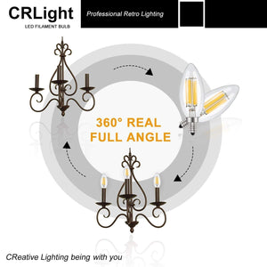 CRLight 6W 700LM Dimmable LED Filament Retro Candelabra Bulbs 2700K Warm White, E12 Base, 60W Incandescent Equivalent, Clear Glass Bullet Top, 6 Pack