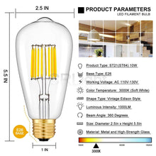 Load image into Gallery viewer, CRLight 10W 3000K Dimmable LED Edison Bulb Soft White 1000LM , 100W Incandescent Equivalent E26 Base ST64 Vintage Filament Bulbs, 2 Pack