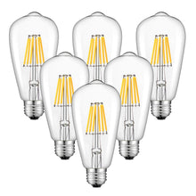 Load image into Gallery viewer, CRLight 6W 3200K Dimmable LED Edison Bulb Soft White 700LM, 70W Incandescent Equivalent E26 Base ST64 Vintage Filament Bulbs, 6 Pack