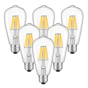 CRLight 6W 3200K Dimmable LED Edison Bulb Soft White 700LM, 70W Incandescent Equivalent E26 Base ST64 Vintage Filament Bulbs, 6 Pack