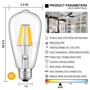 CRLight 8W 4000K Dimmable LED Edison Bulb Daylight (Neutral White) 800LM, 80W Incandescent Equivalent E26 Base ST64 Vintage Filament Bulbs, 3 Pack