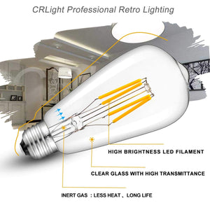 CRLight 4W 4000K Dimmable LED Edison Bulb Daylight (Neutral White) 400LM, 40W Incandescent Equivalent E26 Base ST64 Vintage Filament Bulbs, 6 Pack