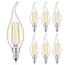Load image into Gallery viewer, CRLight 2W 250LM Dimmable LED Filament Retro Candelabra Bulbs 2700K Warm White, E12 Base, 25W Incandescent Equivalent, Clear Glass Flame Shape, 6 Pack