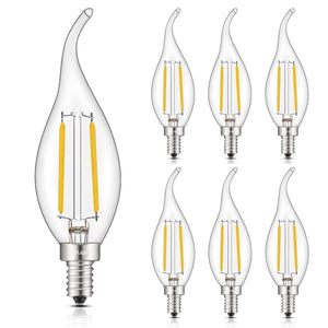 CRLight 2W 250LM Dimmable LED Filament Retro Candelabra Bulbs 2700K Warm White, E12 Base, 25W Incandescent Equivalent, Clear Glass Flame Shape, 6 Pack
