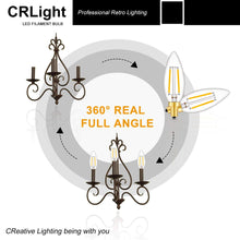 Load image into Gallery viewer, CRLight 2W 250LM Dimmable LED Filament Retro Candelabra Bulbs 2700K Warm White, E12 Base, 25W Incandescent Equivalent, Clear Glass Bullet Top, 6 Pack