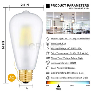 CRLight 8W 3200K Dimmable LED Edison Bulb Soft White 800LM, 80W Incandescent Equivalent E26 Base ST64 Vintage Filament Bulbs, 3 Pack